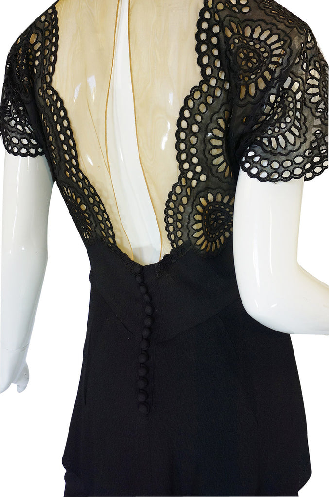 1940s Lace Illusion Peplum Crepe Dress