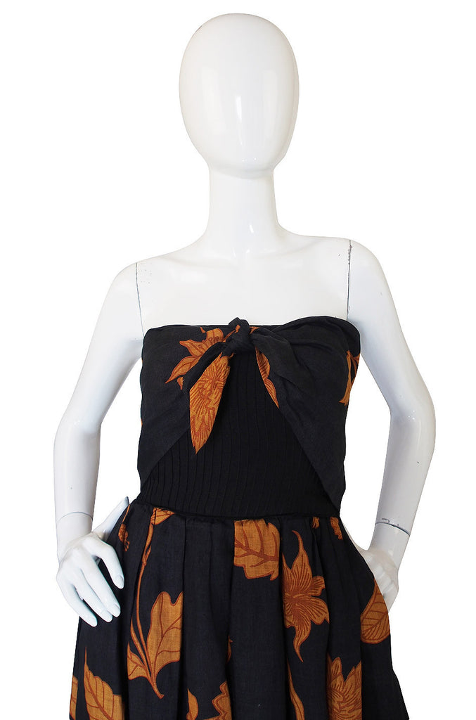 1970s Valentino Strapless Linen Dress
