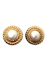 Faux Pearl Center CHANEL Earrings 1980s