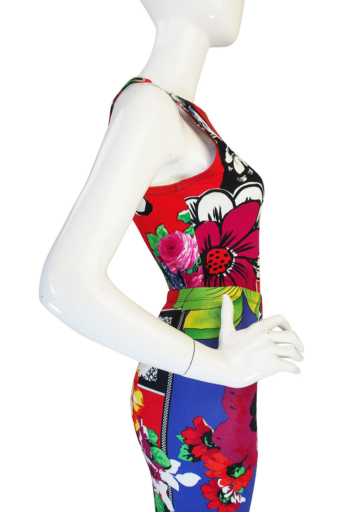 1990s Floral Versace Jeans Couture Bodysuit & Tights
