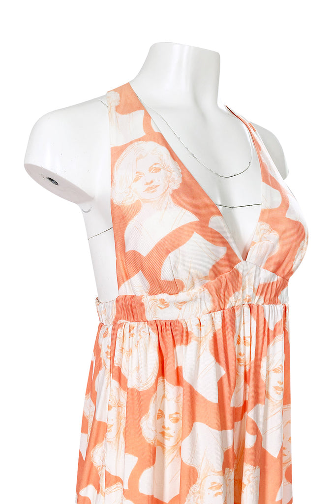 1970s Young Edwardian Marilyn Monroe Plunging Nylon Jersey Print Dress