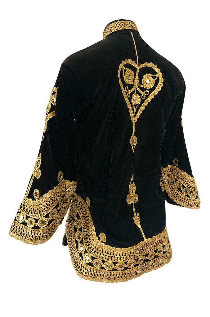 1960s Hand Applied Gold Cord & Mirrors on Black Velvet Tunic Top