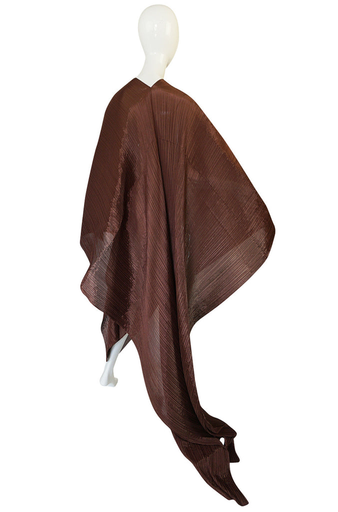 "1990s Issey Miyake ""Pleats Please"" Copper Shawl Poncho Dress"