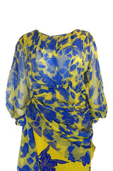 1970s James Galanos Couture Draped Printed Floral Silk Dress