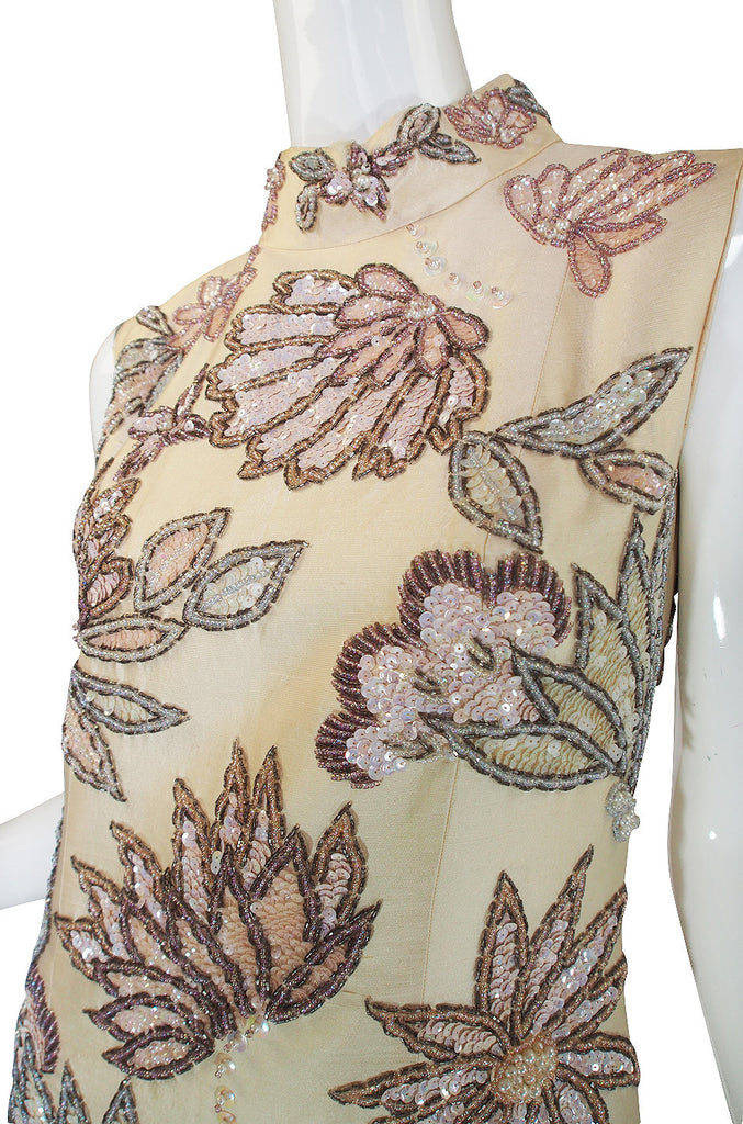 1960s Raw Silk Hand Beaded & Sequin Gown