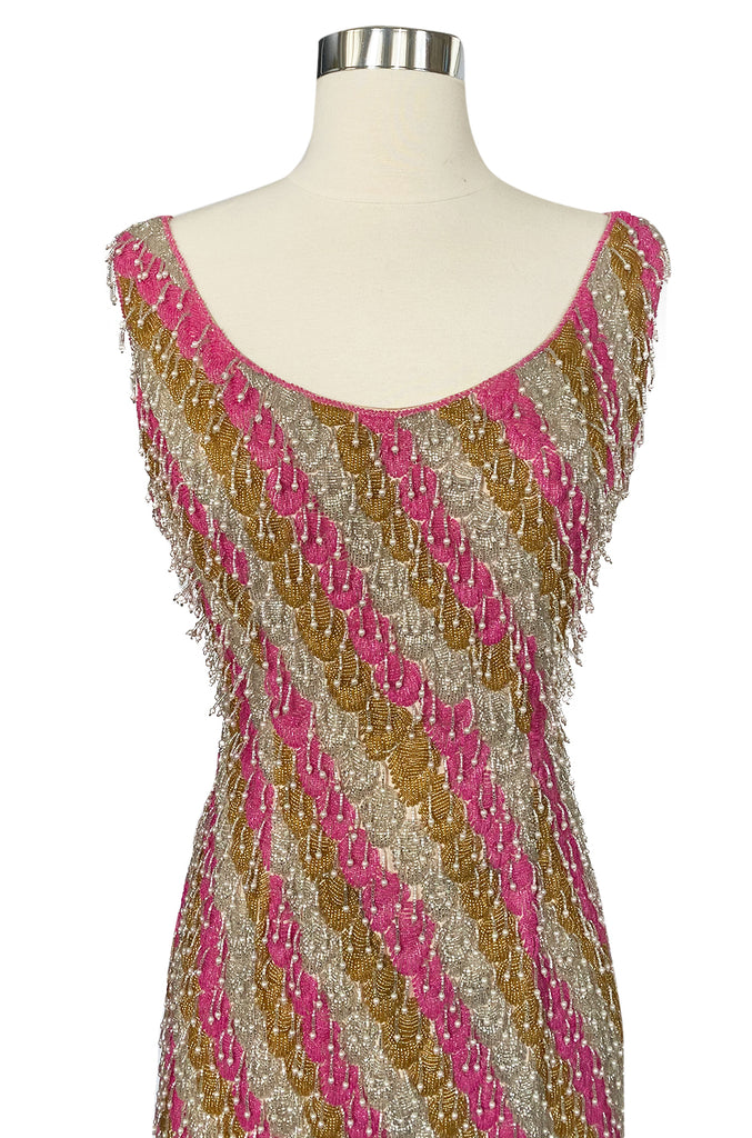 Spectacular 1950s Unlabeled Pink & Gold Glass Bead & Pearl Dress