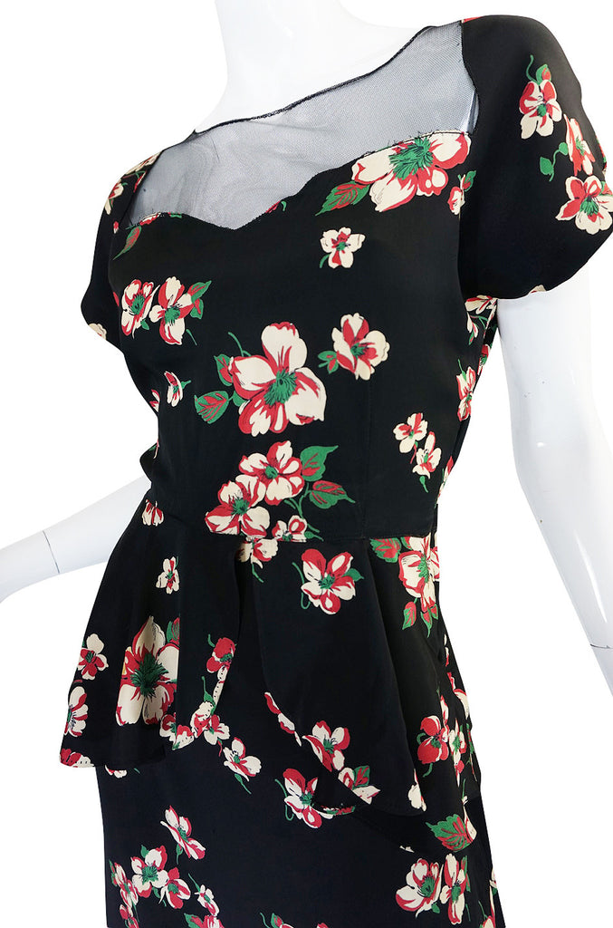 1940s Gorgeous Floral Print Silky & Net Swing Dress