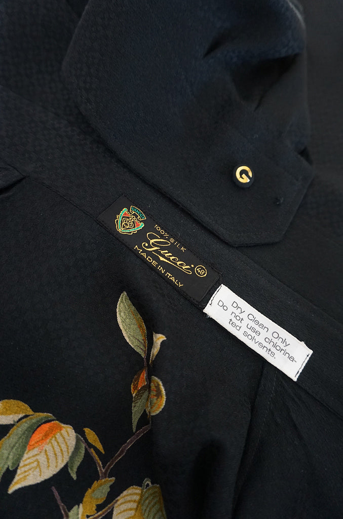 1970s Gucci Pheasant and Hawk Black Silk Top