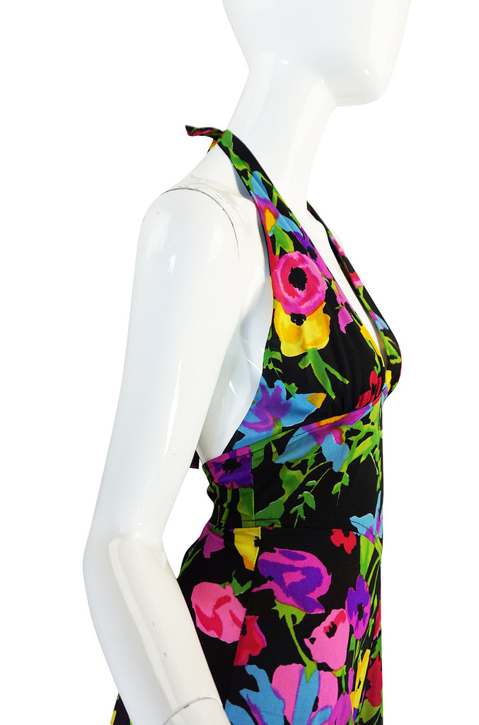 1970s Miss Dior Plunging Bright Floral Print Halter Dress