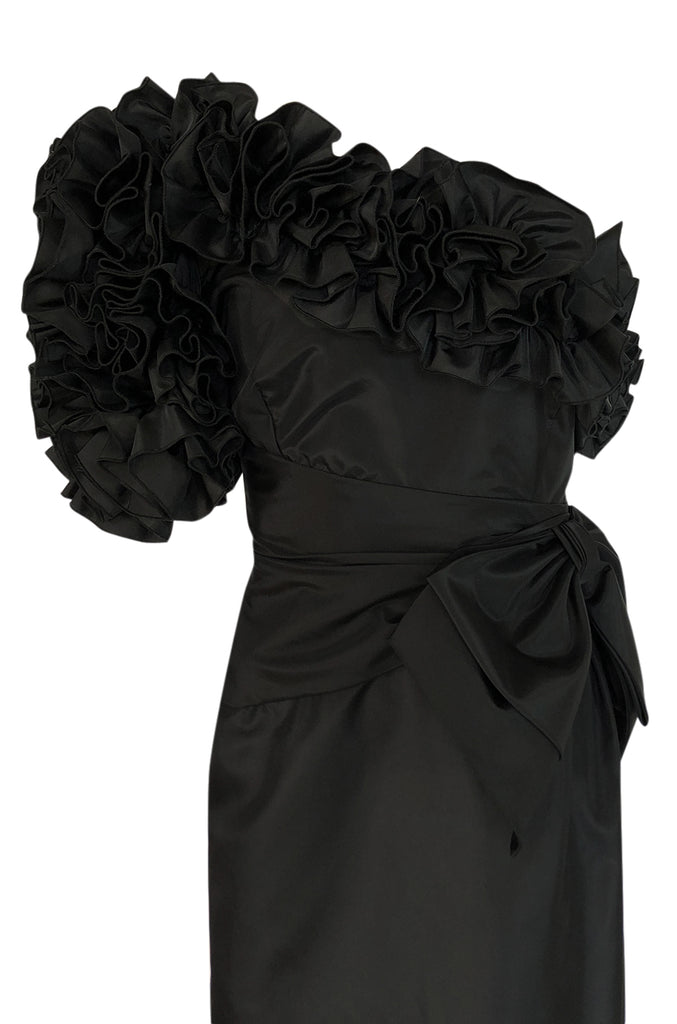 1980s Morton Myles Dramatic Ruffled and Bowed One Shoulder Dress
