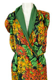 1970s James Galanos Open Back or One Shoulder Floral Silk Chiffon Dress
