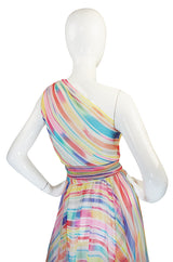 1970s One Shoulder Silk Stripe Oscar De La Renta