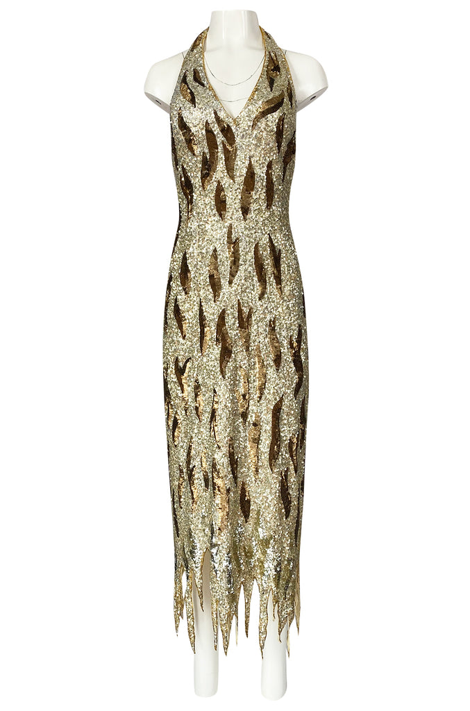 1970s Jean Louis Scherrer Gold & Copper Densely Sequinned Flame Dress