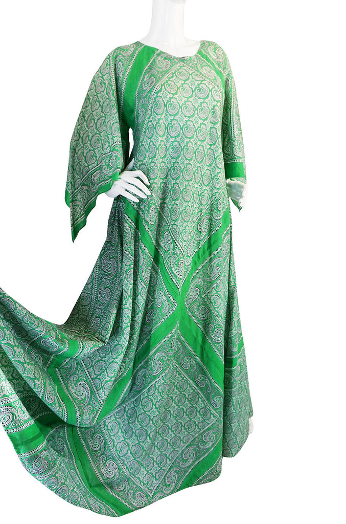 1970s Green Print Bandanna Scarf Cotton Caftan Dress