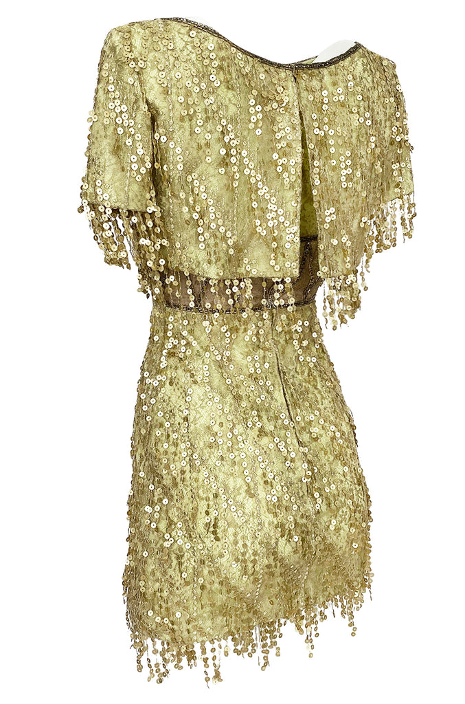 1991 Bob Mackie Gold Sequin Dangle Thread on Metallic Lace Mini Dress