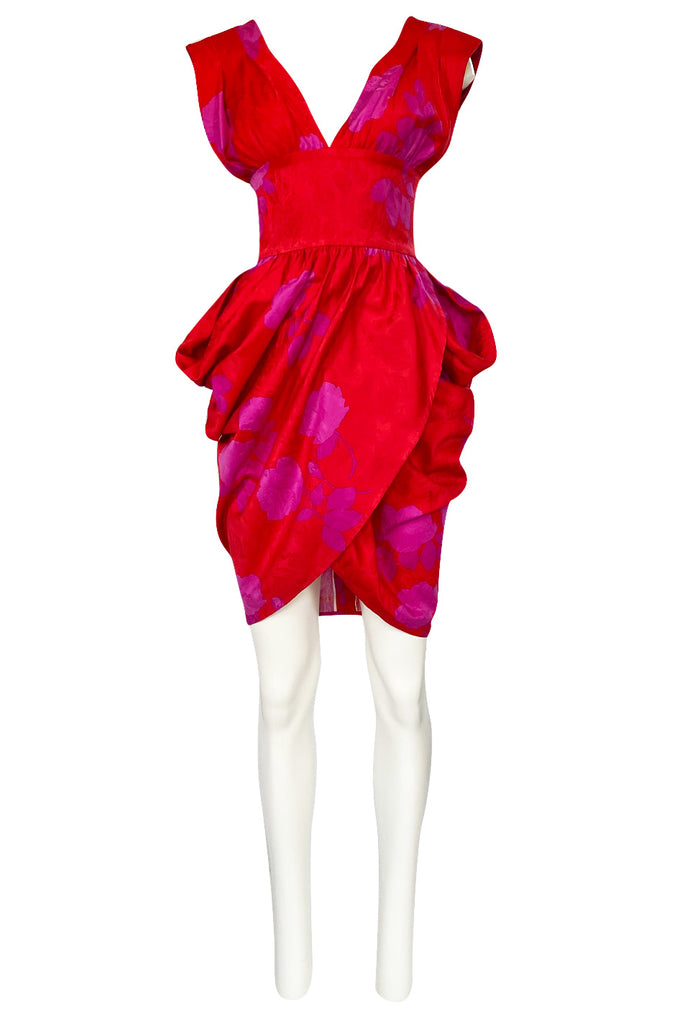 1980s Odicini Couture Coral & Pink Print Plunge Dress w Unusual Skirt