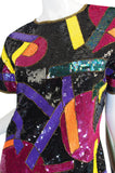1980s Bright Sequin Encrusted Multi Color Dress