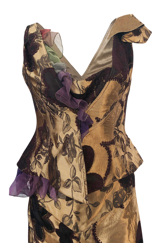 Fall 1992 Christian Lacroix Elaborate Gold & Silk Corset Top & Skirt