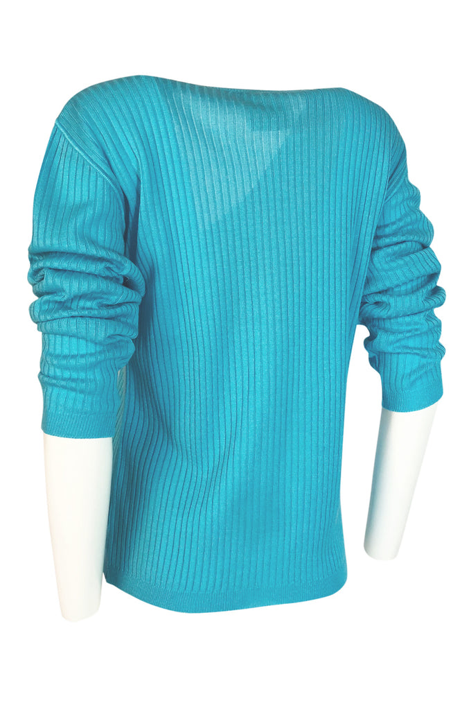 c.1978 Courreges Bright Turquoise Button Up Sweater Cardigan