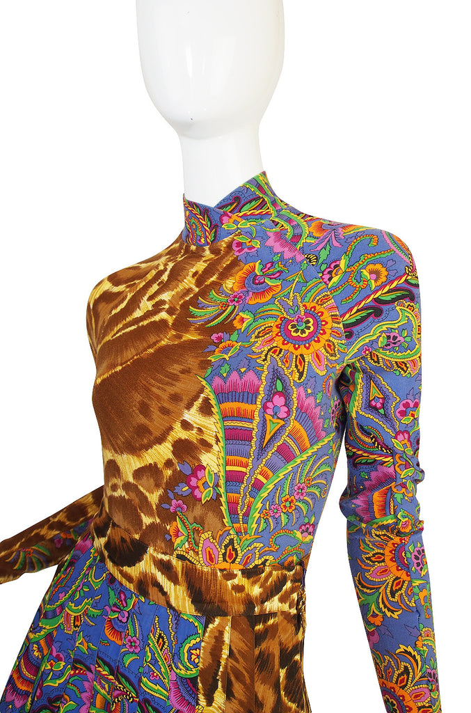 1990s Versace Jeans Couture Leopard Body Suit & Skirt