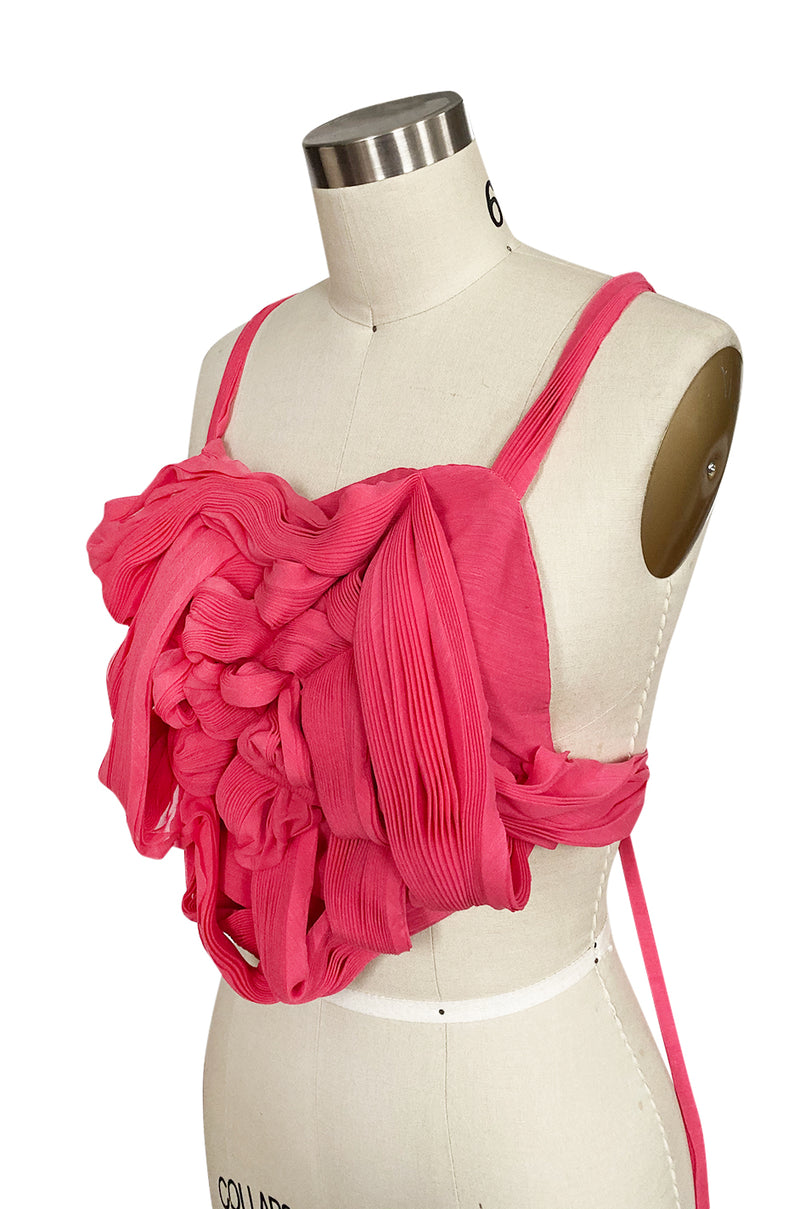c. Spring 2005 Issey Miyake Vibrant Pink Backless Pleated Oragami Flower Top