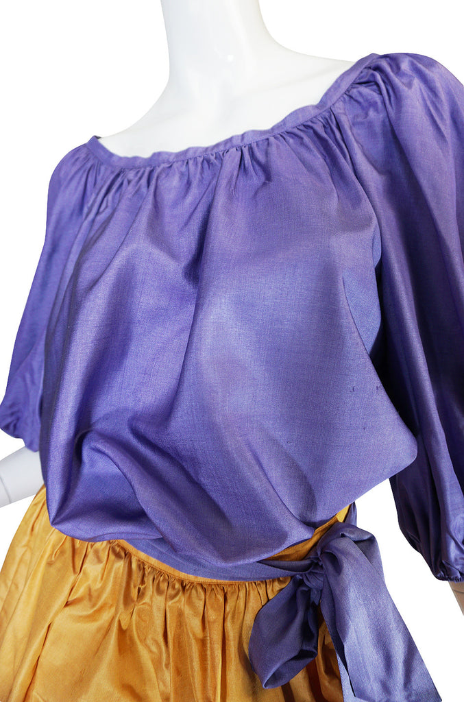 1970s Yves Saint Laurent Peasant Ruffle Skirt & Top Set