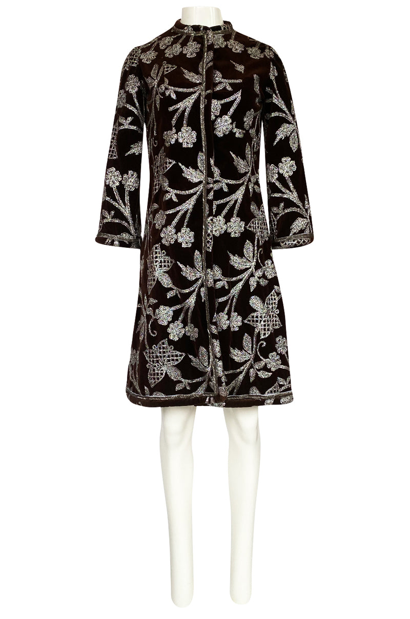 1968 Bill Blass Museum Documented Brown Velvet & Silver Thread Coat