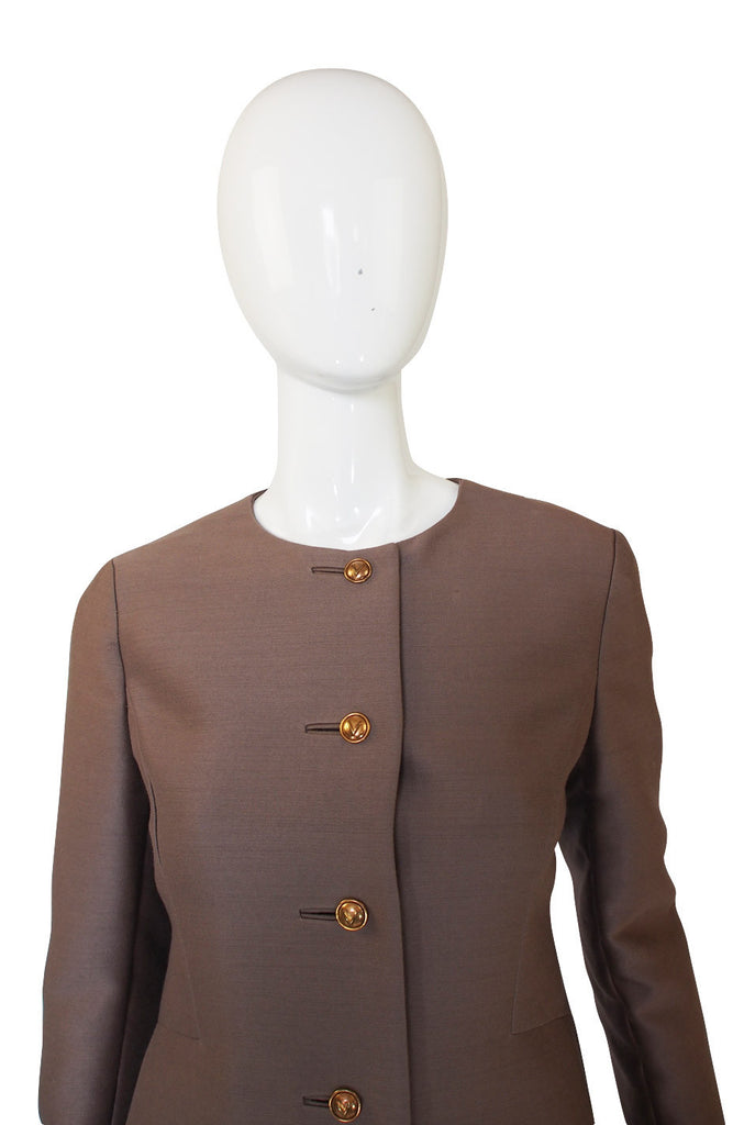 1960s Valentino Silk Taupe Coat or Dress