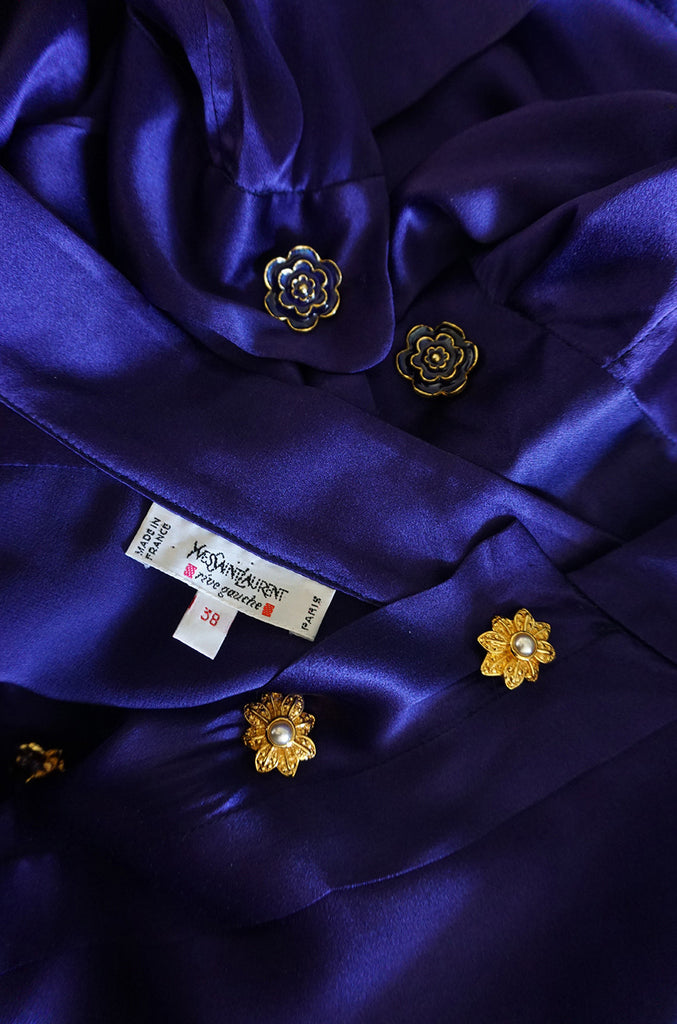 Circa 1988 Yves Saint Laurent Silk Satin Purple Top