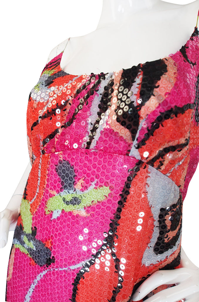 1990s Pink  Silk & Sequin Pucci Shift Dress