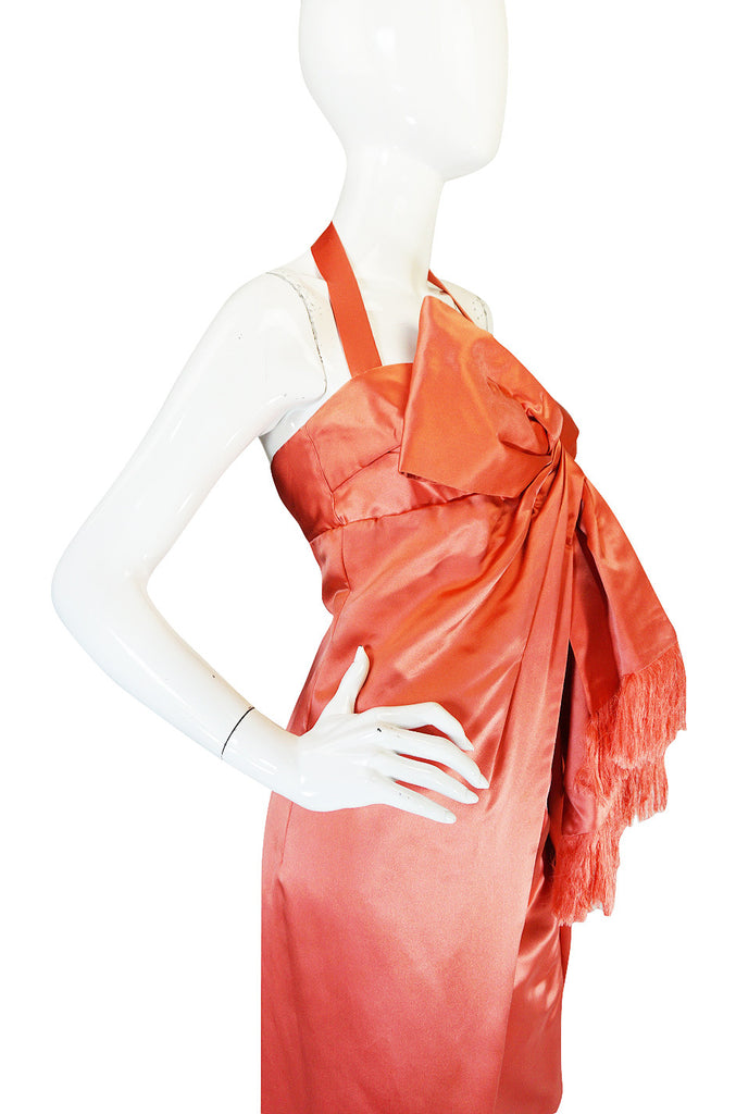 Now On Sale - 1950s Coral Silk Satin Bow Dress