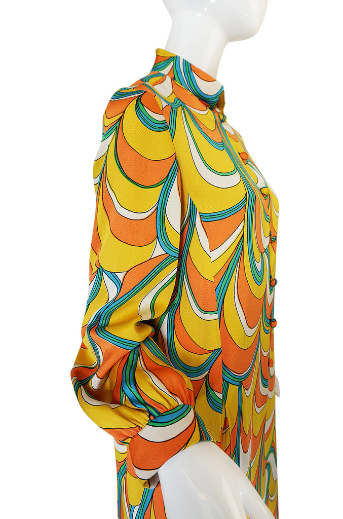 1960s Multi Color Geoffrey Beene Silk Twill Shift Dress