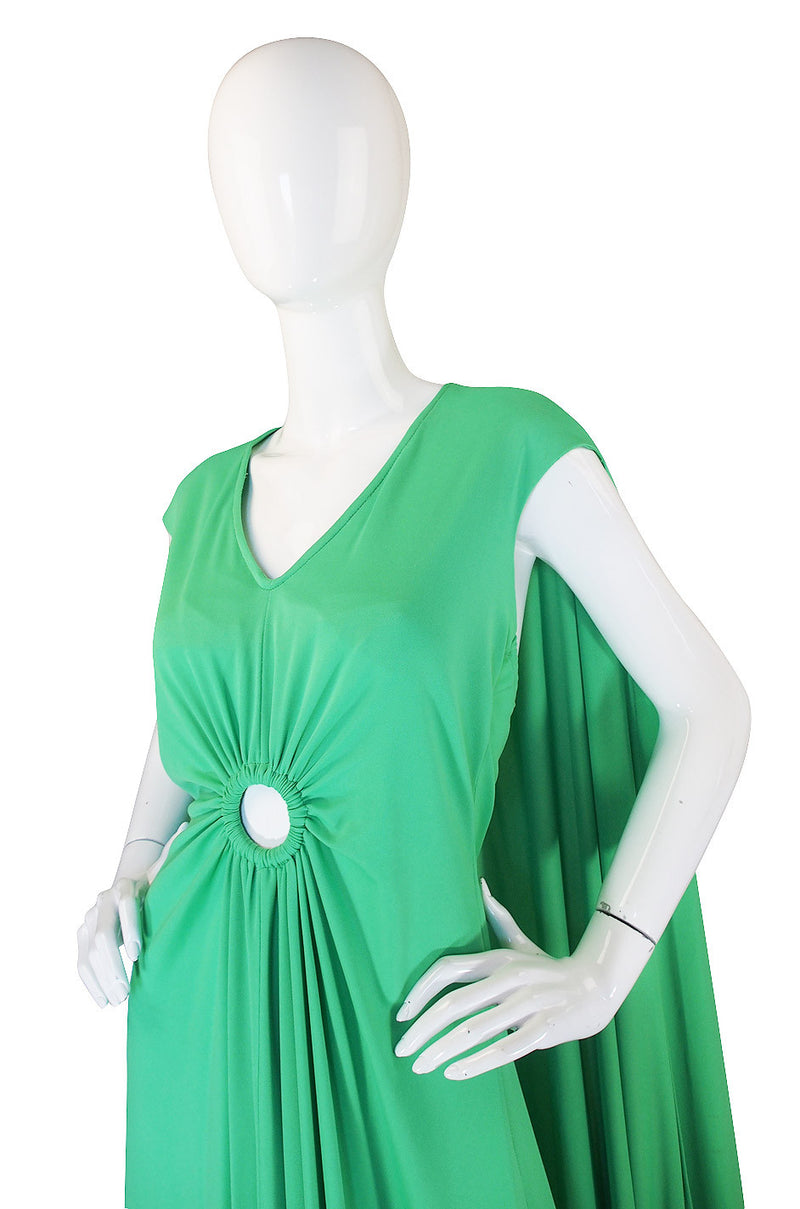 1970s Green Caped Jersey Maxi with Cut Out