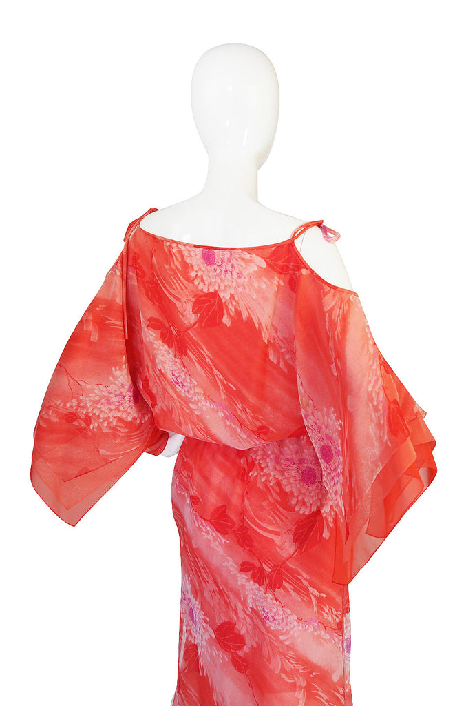 1970s Layered Silk Chiffon Travilla Maxi Dress