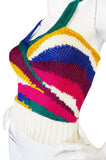 1970s Krizia Multi Color Racer Back Sweater Top