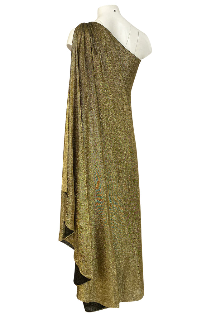 c.1978 Halston One Shoulder Gold Lame Jersey Full Length Maxi Dress