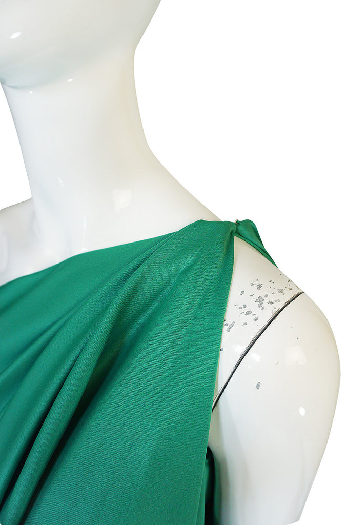 1970s Halston One Shoulder Jersey Green Dress