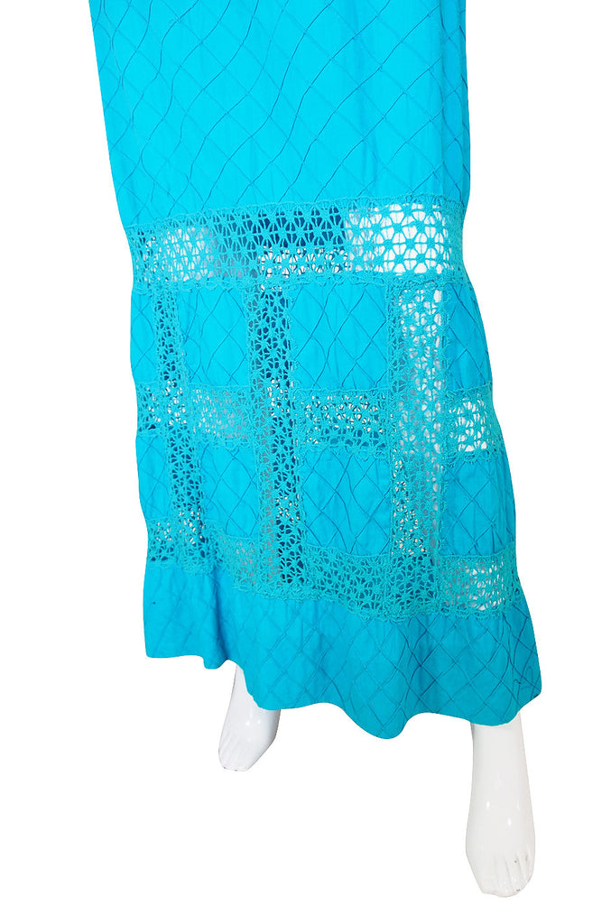 Now On Sale - 1960s Turquoise Cotton Pintuck Mexican Dress