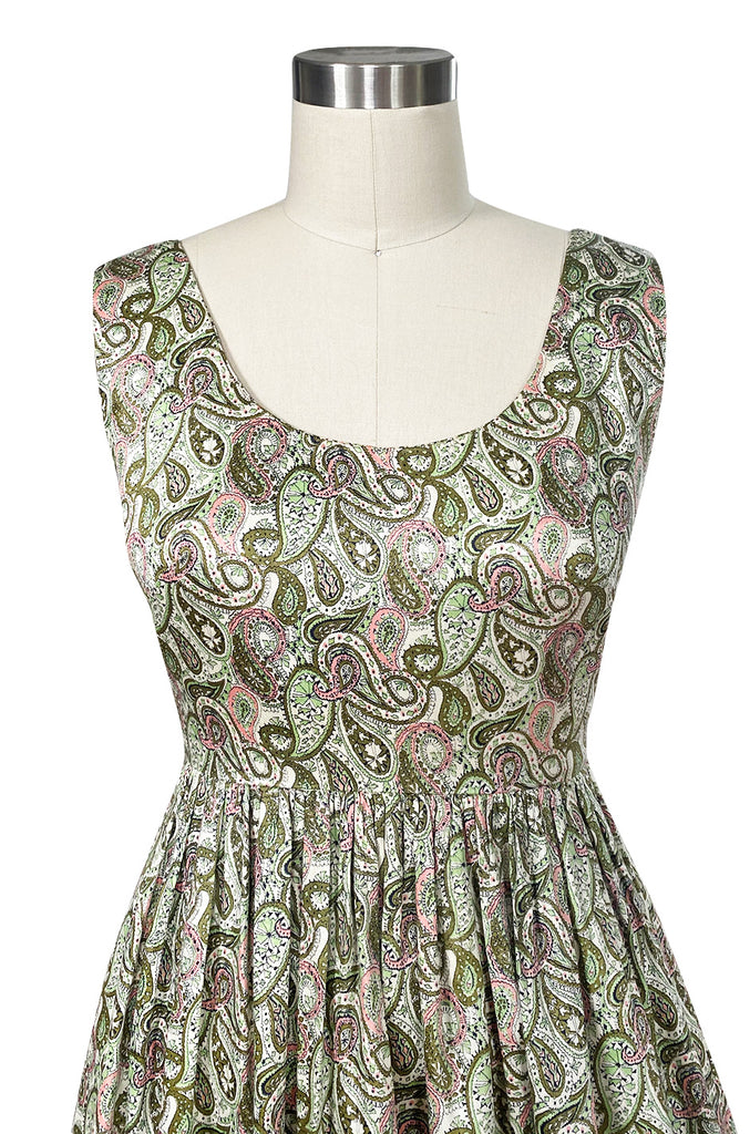 c.1954 Claire McCardell Green & Pink Print Cotton Sun Dress w Belt