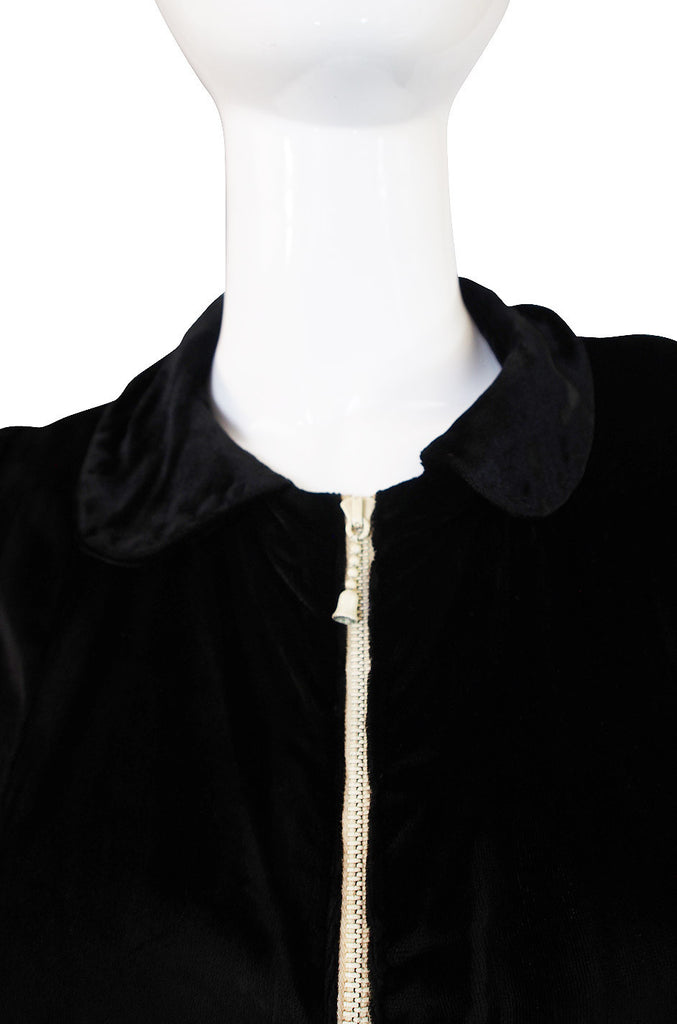 1920s Velvet Coat Dress w White Zipper