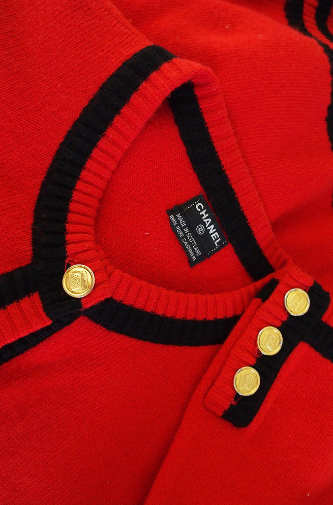 1990s Red Chanel Cashmere Classic Cardigan