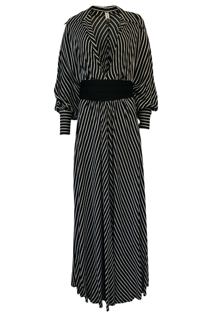 1980s Bernard Perris Black and White Kimono Plunging Caftan Dress
