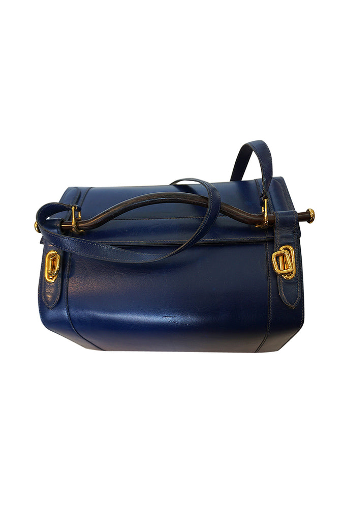 c.1960s Hermes Rare Blue Calf Box Leather Train or Vanity Case Bag