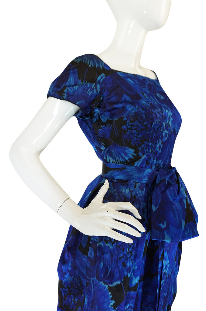 1950s Deep Blue Floral Demi-Couture Level Silk Dress