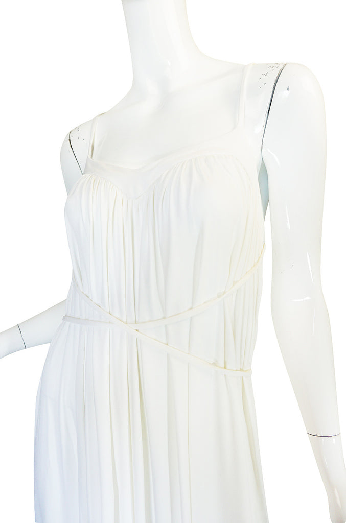 1970s Ossie Clark Attr Quorum White Jersey Dress