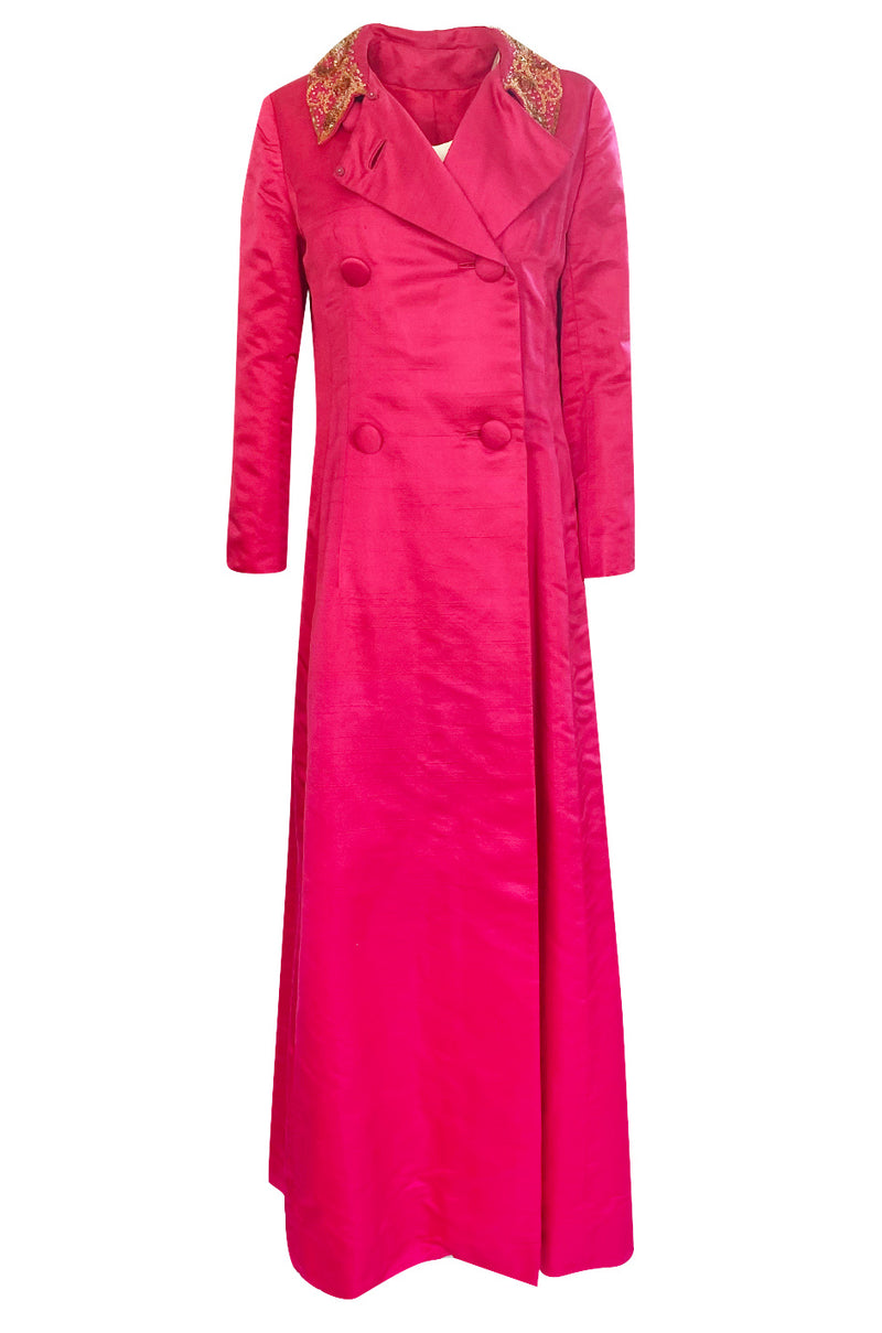 1960s Unlabeled Malcolm Starr Pink Silk Satin Full Length Evening Coat
