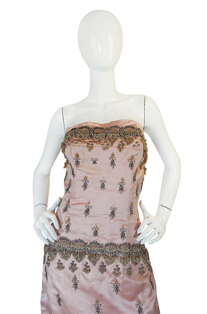 1950s Gaby Couture Embellished Silk Strapless Gown & Cover