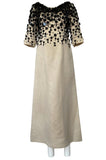 1960s Guy Laroche Haute Couture Embellished Beadwork Ivory Silk Dress