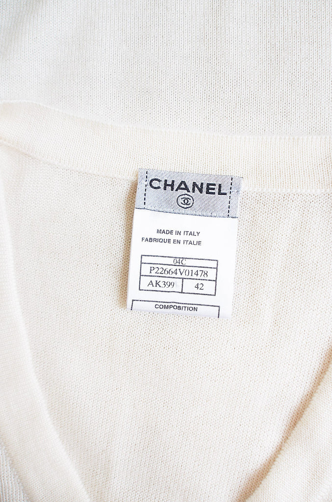 1980s White Cashmere Chanel Logo Sweater
