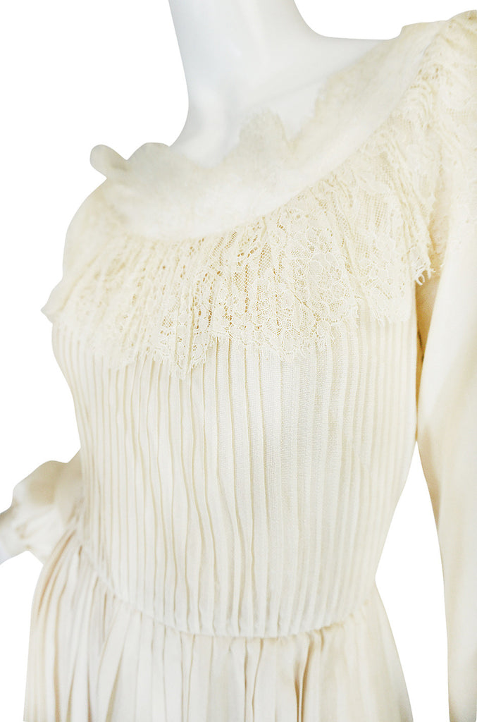 1960s Andre Laug Couture Pleated Cream Silk Dress